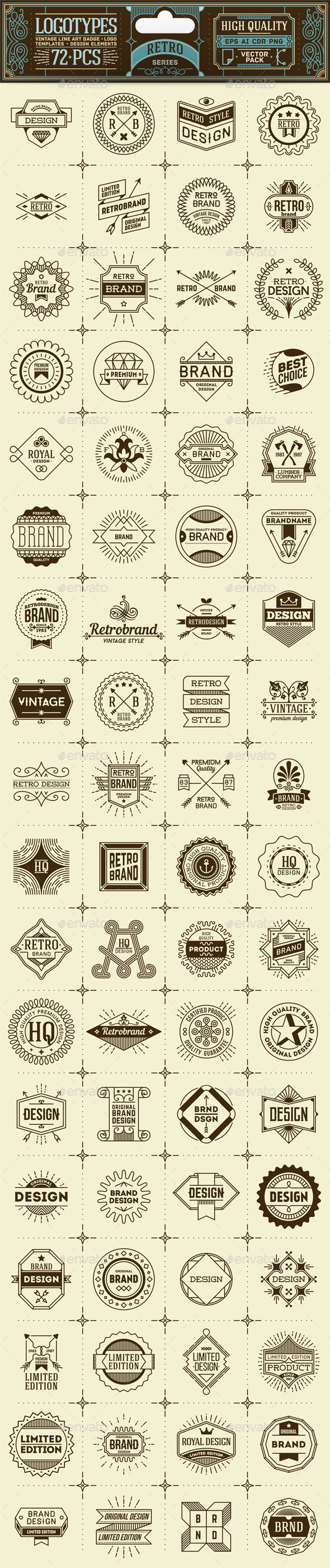 Retro Thin Line Badges and Logos. Vector Pack. Template EPS, AI #design Download: http://graphicriver.net/item/retro-thin-line-badges-and-logos-vector-pack/13755394?ref=ksioks