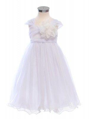 White Double Layered and Toned Mesh Flower Girl Dress (Sizes 2-14) - Flower Girl Dresses - GIRLS