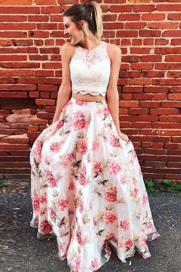 e7f06234ec3 Two Piece Floral Long Lace A Line Prom Dress Graduation Party Dress OK880