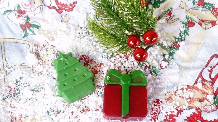 CHRISTMAS Handmade Glycerin Soap shaped gift bar natural scented tree bell star #Handmade
