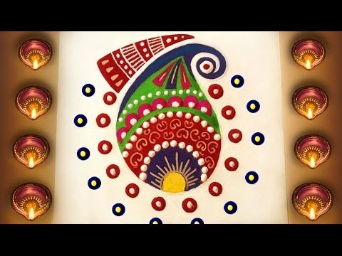 Easy & Quick Rangoli Design : How to Make Simple Rangoli for Diwali in F...