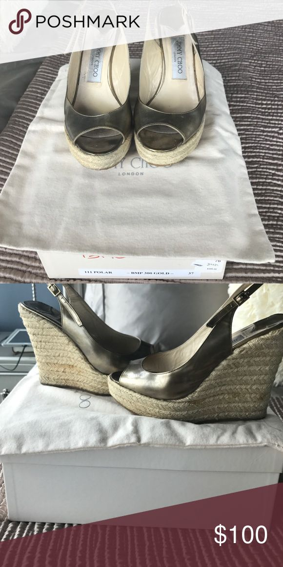 Jimmy Choo gold polar wedge size 6 Worn comfortable wedge.  Original box and dust cover available Jimmy Choo Shoes Wedges