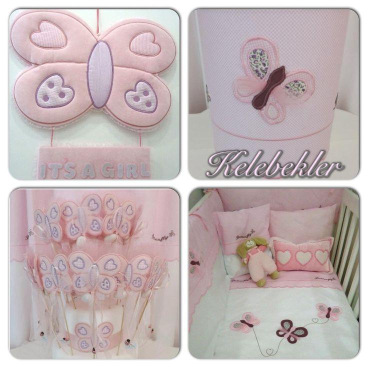 Kelebek temalı bebek odası aksesuarları , uyku setleri, kapı süsleri , bebek şekerleri