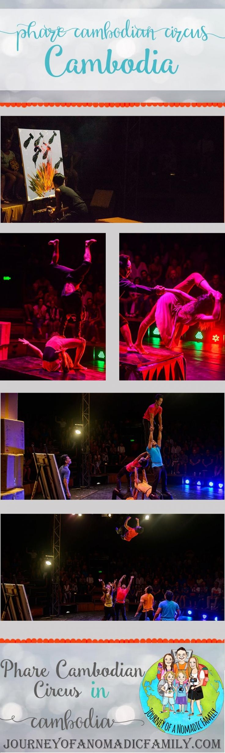 Phare Cambodian Circus is a people circus that focuses on acrobatic and musical art. It's an organisation that supports Cambodians subject to poverty by employing and training people.