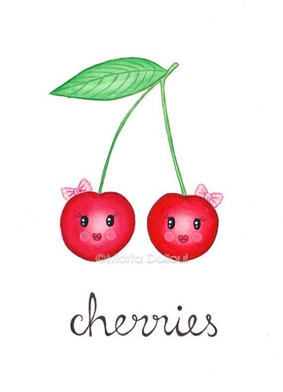 Impression d'art la cerise. Peinture aquarelle cerise. Illustration de cerises mignon. Crèche de l'art fantaisiste de fruits. Art mural de cuisine fruit alimentaire.
