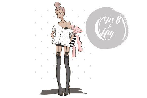 Fashion girl with big gift box. by miss.belleame on @creativemarket