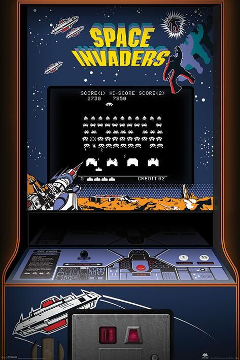 'Space Invaders' arcade game. Back in the day, we actually had to leave our homes and go to an arcade to play video games.