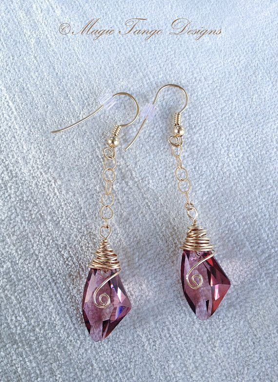 Gorgeous Elegant Stylish Classy Dangling Purple Swarovski Crystal Earrings with Classic Gold-filled Earring base & chain