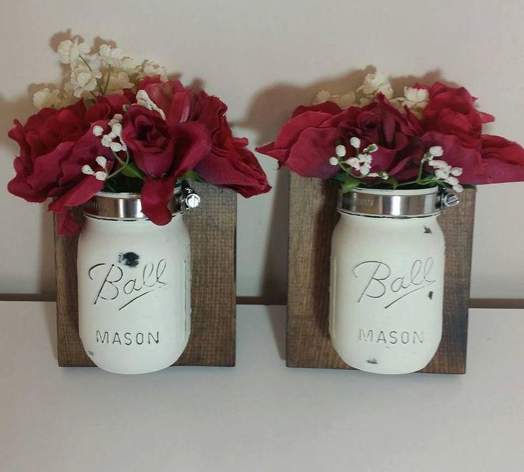 Set of 2 Mason Jar Wall Plaques/Mason jar bathroom decor/distressed mason jars/mason jar floral arrangement/fixer upper/shabby chic decor by HandcraftsByMel on Etsy
