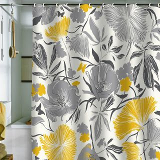 Chic & Affordable Yellow and Gray Shower Curtains