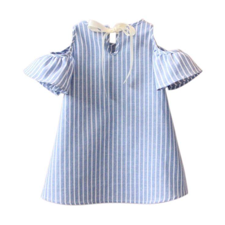 Newest Kids Girl Princess Dress Summer Striped Short Sleeve Mini Dresses Infantil Children Vestidos