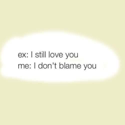 Ex: I still love you. Me: I don't blame you.