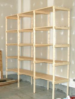 "Building Strong Food Storage Shevles For Your Home Project. ""We built this exact unit for our prep room, using furring strips. It is extremely strong, has 96 sq. ft. of storage space in only 16 sq. ft of floor space and cost us less than $100.00. A lot more bang for the buck than any prefab unit that we looked at. We are very happy with it and plan to build two more."""