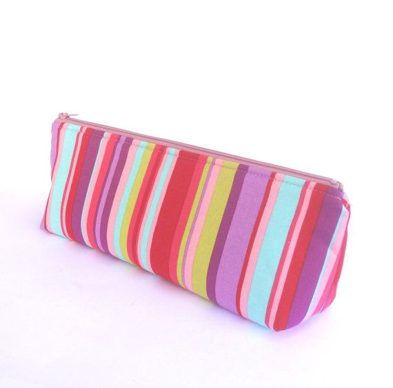 Rainbow Make-up Zipper Pouch // Stationery Pencil Case in Stripes