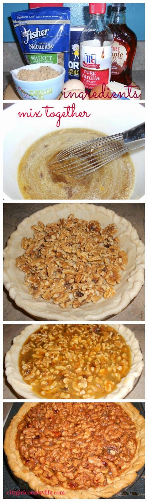 A few simple steps to this amazing dessert!!  Fast and Easy Maple Walnut Pie