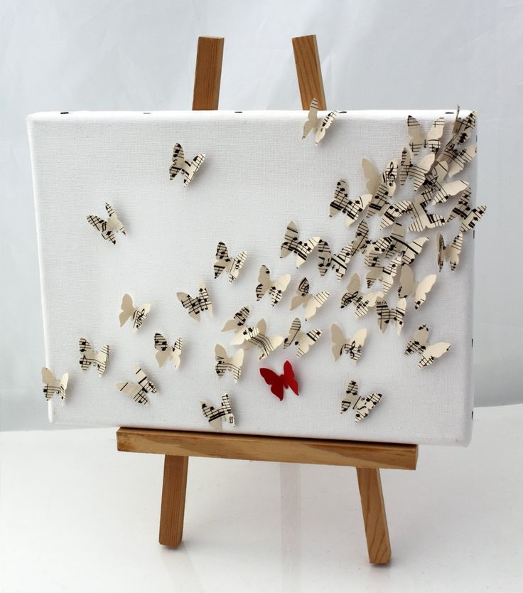 3d butterfly wall art collage on canvas upcycled vintage for 3d canvas ideas