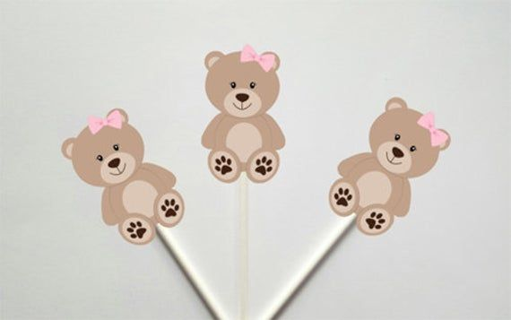 Teddy Bear Girl Baby Shower Decorations Pink and Gold Teddy Bear Cupcake Toppers Set of 12 Teddy Bear Picnic 1st Birthday