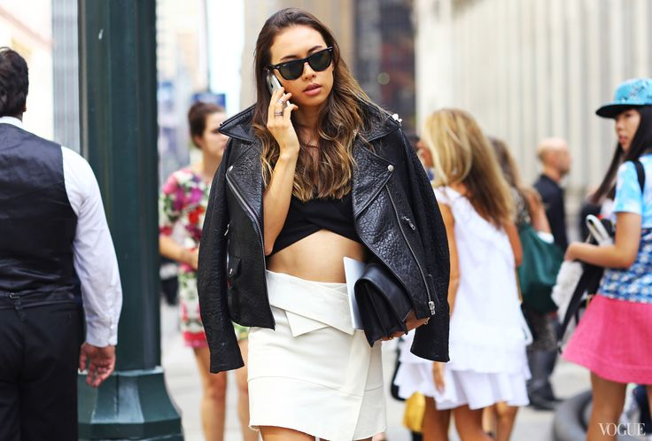 Rumi Neely at 3.1 Phillip Lim - Acne Studios jacket, Robert Rodriguez top, Isabel Marant skirt, Ray-Ban sunglasses