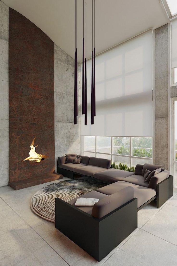 suspension salon haut plafond à plusieurs abat-jour en forme allongée