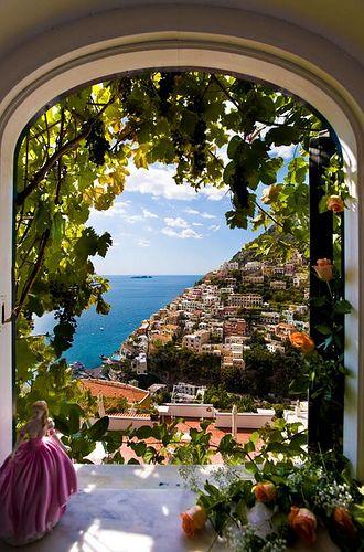 View from the window, Amalfi coast villas, Positano, Italy