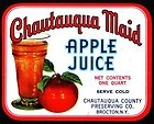 Chautauqua  Maid  Apple Juice  Label - 1940's Brocton, NY - ORIGINAL / Vintage
