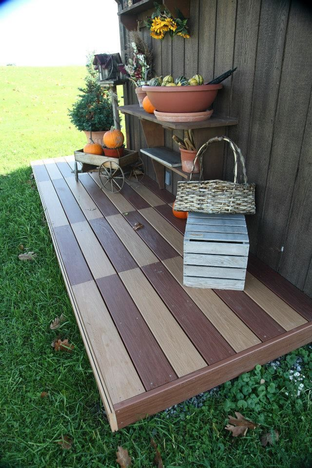 Pieces Of Tuscan Cherry And Moroccan Cedar Are Used To Create A Fun And  Interesting Front Porch On A Garden Shed. #Gossen #Decking | Pinterest |  Gardens, ...