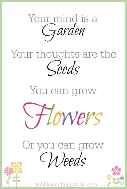 Making Life Blissful: Your Mind is a Garden Free Printable