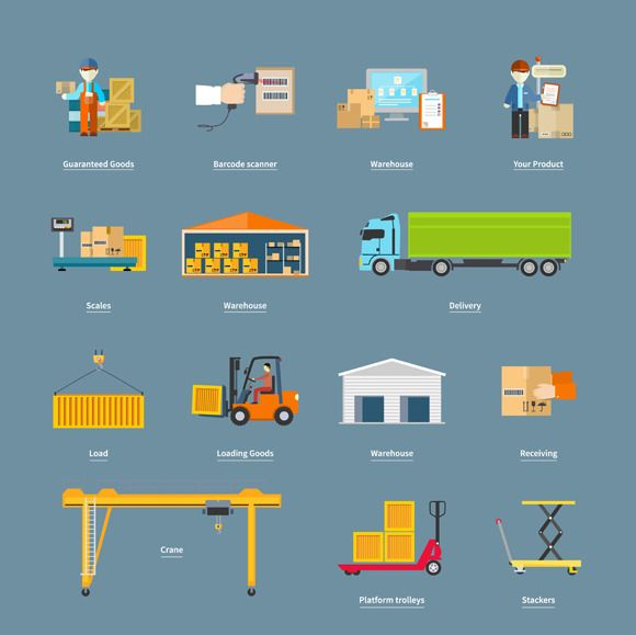 Set of Icons Transport Logistics by robuart on Creative Market