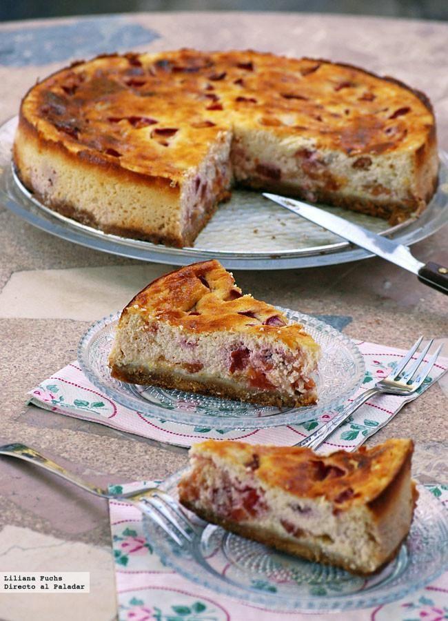 Tarta de queso fresco desnatado y ciruelas. Receta de postre