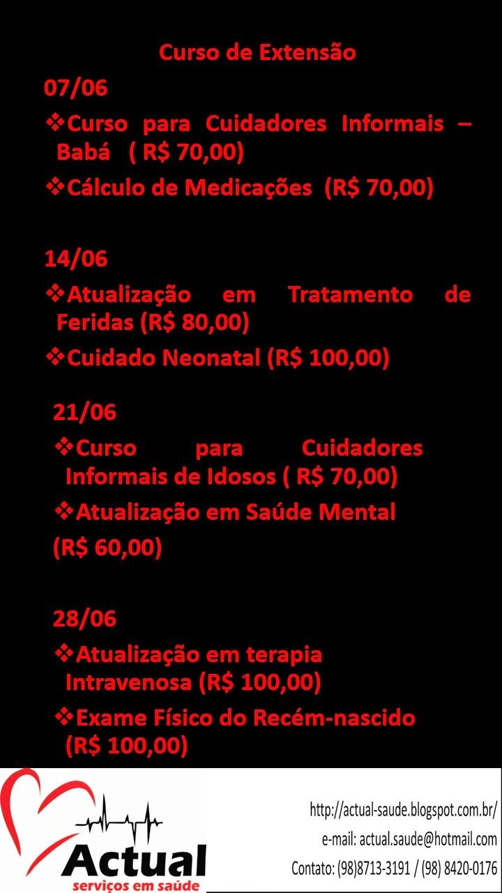 ACTUAL SERVIÇO EM SAÚDE: # Cursos - Junho #
