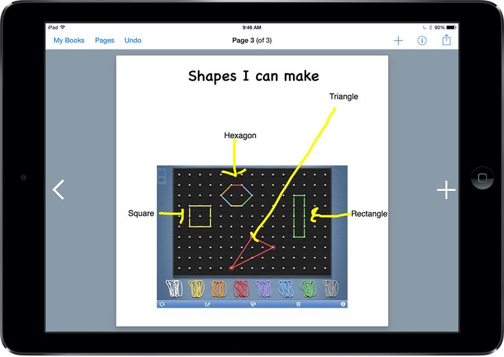 'App smashing in Math' by Kristi Meeuwse. Combine Geoboard with Book Creator and don't underestimate what the class will come up with!