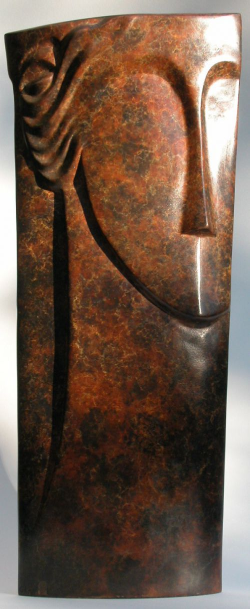 #Bronze #sculpture by #sculptor Glynis Owen titled: 'Takes Two (Bronze abstract Modern female Male Face Bust sculptures)'. #GlynisOwen