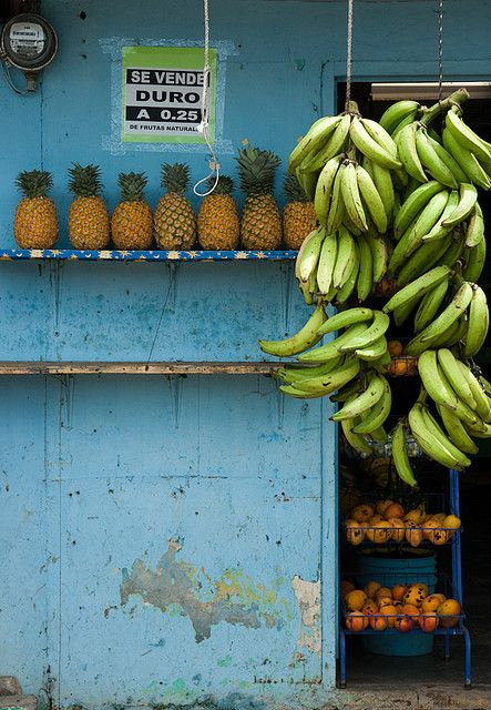 Tropical bananas hanging in a market in Guatemala