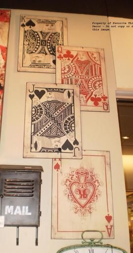 "Set of 4 Metal Playing Card Plaques - 18"" x 12.75"""