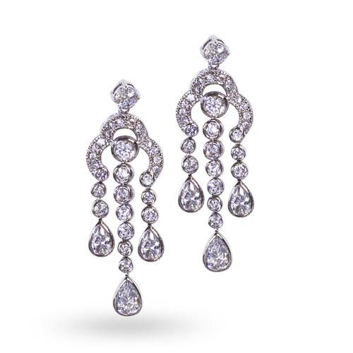 Silver Art Deco Cubic Zirconia Drop Chandelier Earrings