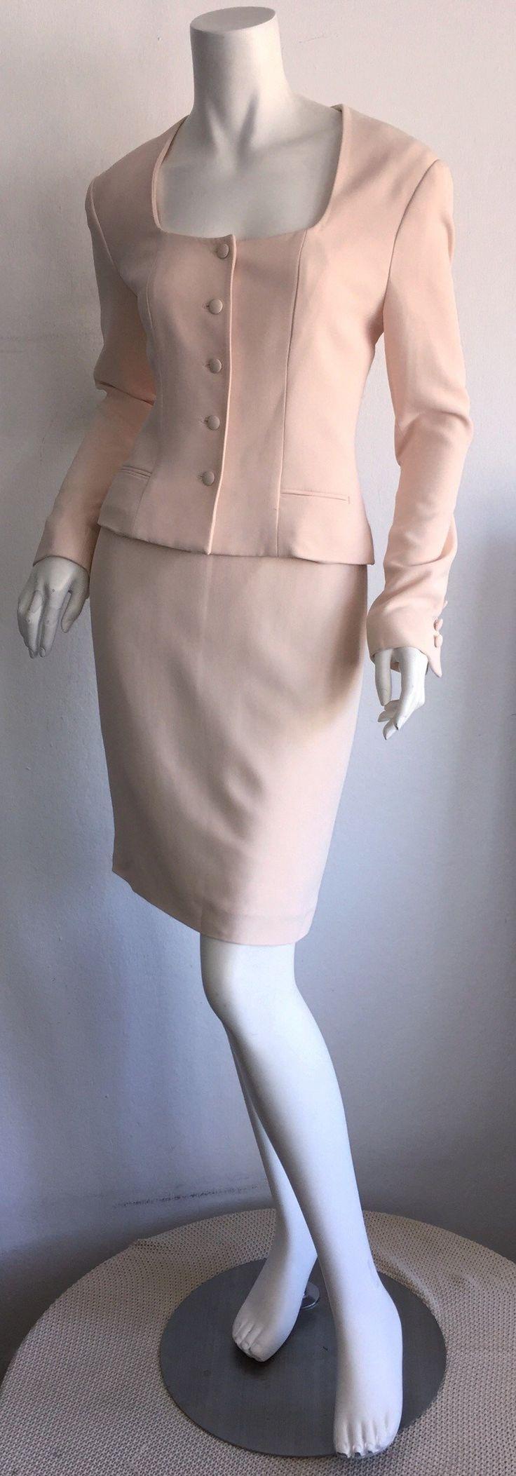 Vintage Guy Laroche Light Pink Skirt Suit Made in France