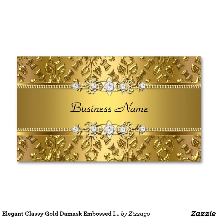 Elegant Classy Gold Damask Embossed Image Double-Sided Standard Business Cards (Pack Of 100)