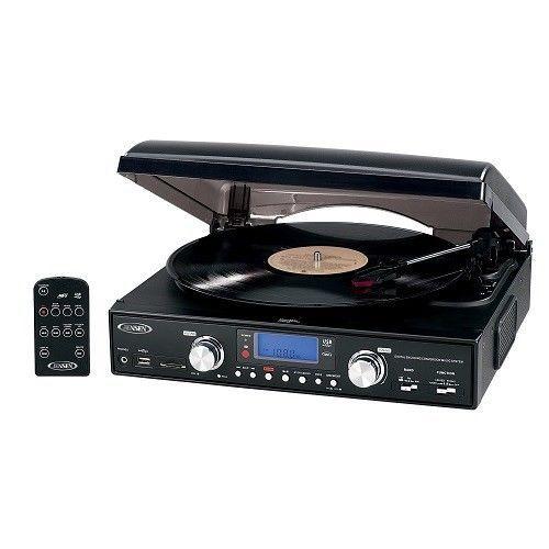 Stereo Record Player 3 AM/FM Control MP3 Radio Remote Speed Turntable USB Vinyl #Jensen