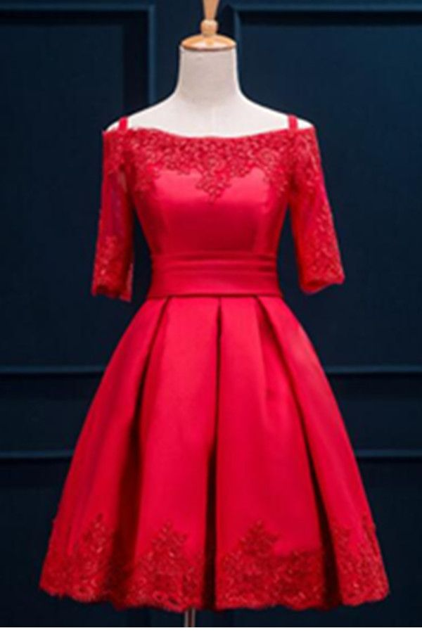 132.89 USD Custom Made Half Sleeves Lace Light Red Satin