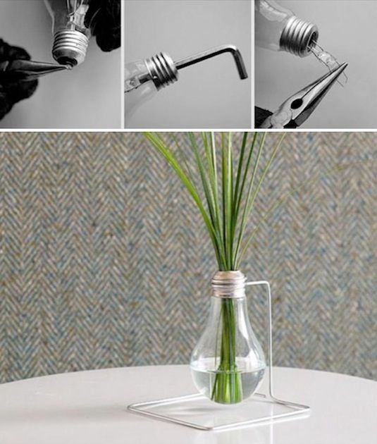how to empty out a glass bulb.
