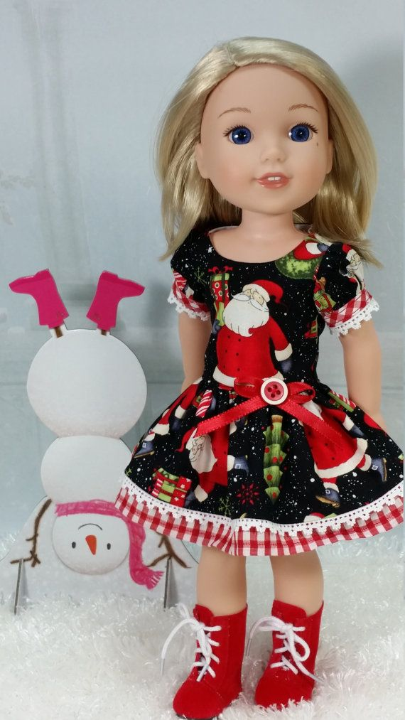 Wellie Wisher Santa Holiday Christmas Fancy Dress, American Made to Fit 14 1/2 Inch Girl Doll