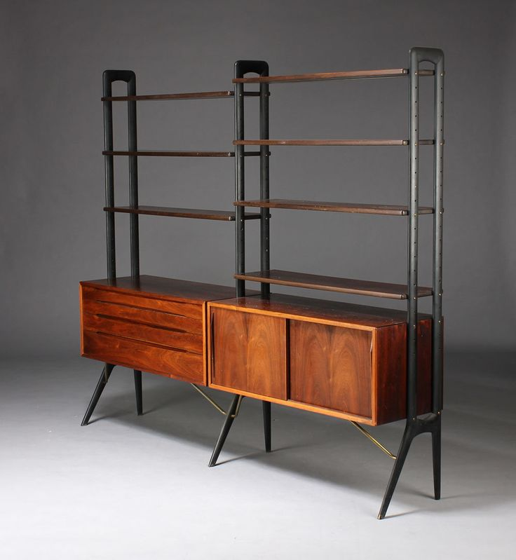 kurt stervig rosewood lacquered wood and brass storage unit for kp mobler 1950s