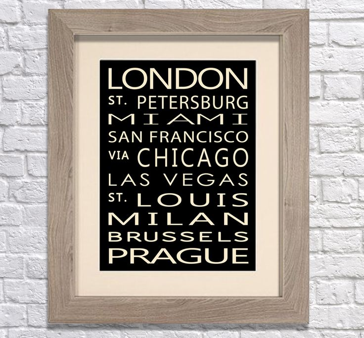 Framed Vintage bus art Giclee Print. You can personalise this print with any words you like! Great gift idea! www.monkeyofthenorth.co.uk