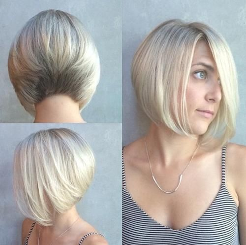 Blonde Stacked Bob Coiffures