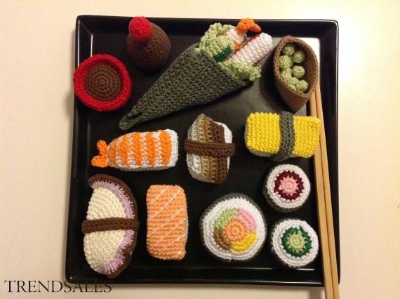 hæklet sushi hæklet mad, str. one size, Multi