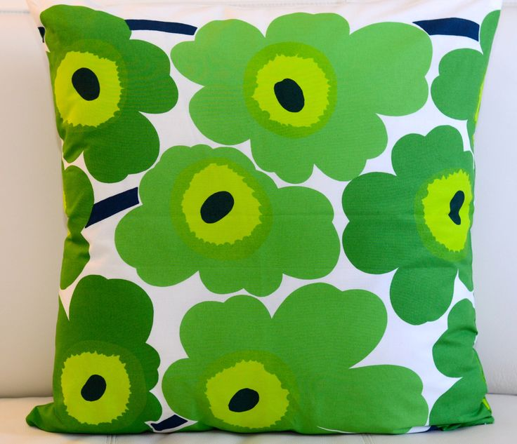 Floral Marimekko Pillow Cover. Handmade. Pattern: Unikko by Maija Isola. Green pillow, 20x20 inches (50x50cm) by PantsandPillows on Etsy https://www.etsy.com/listing/229827497/floral-marimekko-pillow-cover-handmade