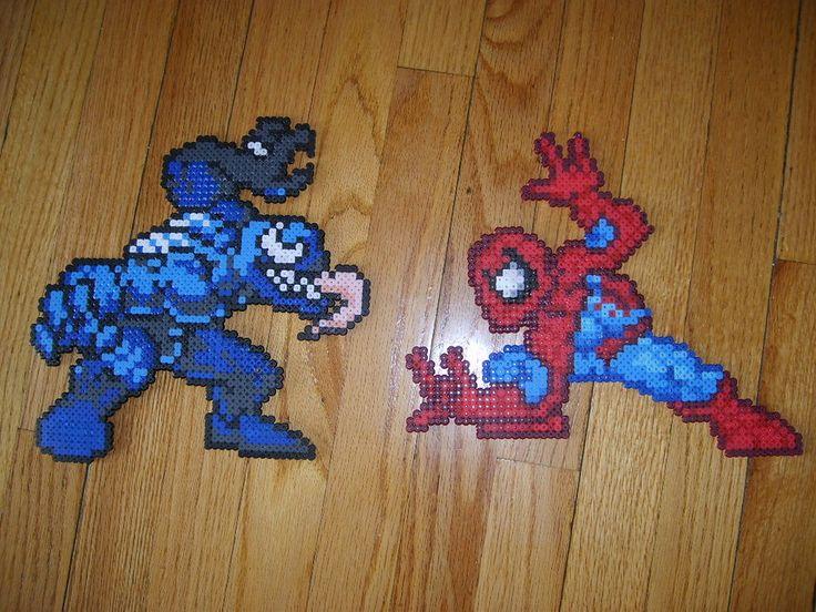 spiderman y venom perler beads