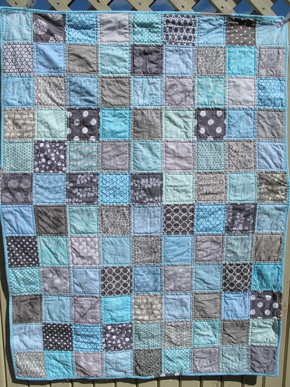 Handmade baby quilt in grey and light blue, gray, baby shower present, baby birthday present, baby boy present