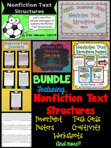 A variety of engaging activities to teach nonfiction text structures!  (PowerPoint, 17-page flipbook, several worksheets, task cards, posters, graphic organizers, craftivity, & more!)  This informational text structure bundle contains 89 PASSAGES!!!  $