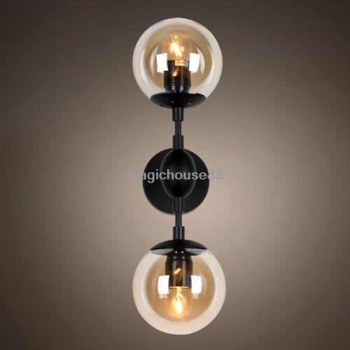 Black-Vintage-Wall-Light-Fixture-2-Light-Tea-Glass-Globe-Indoor-Wall-Sconce-Deco